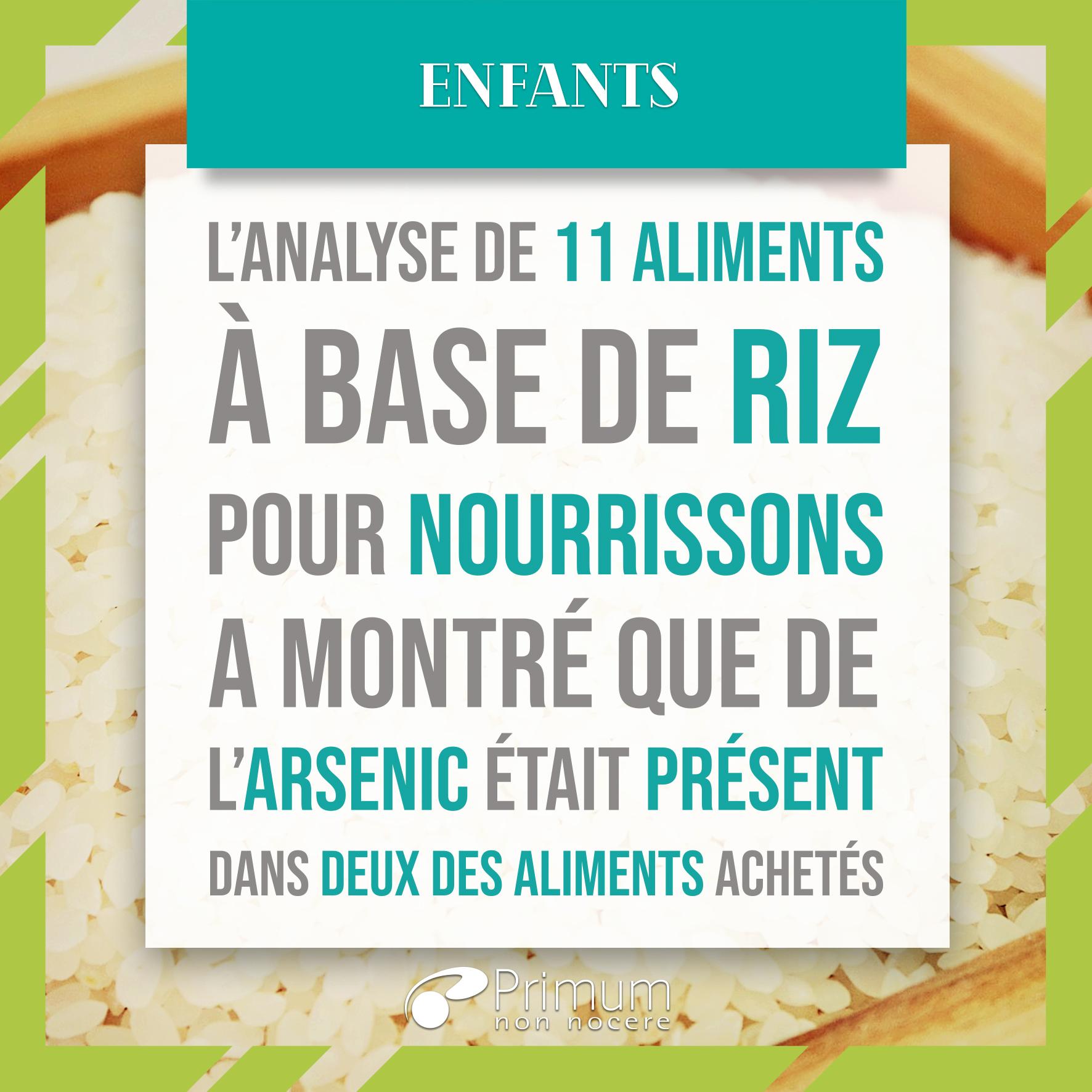 aliments pour nourrisson à base de riz arsenic